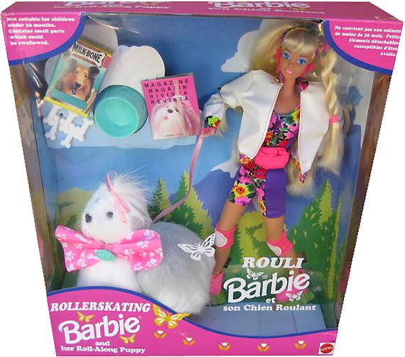 Барби на роликовых коньках и с собакой