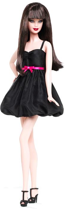 Кукла Барби маленькое черное платье с розовым поясом