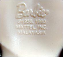маркировка куклы Барби, произведенной в Малайзии