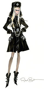 фэшн рисунок коллекционной куклы Silkstone Barbie в русском стиле