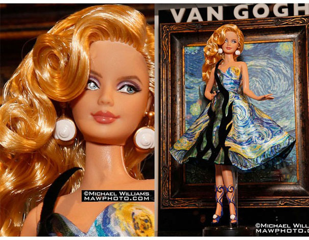 Museum Collection Barbies: Barbie Van Gogh, Barbie Klimt, Barbie Da Vinci