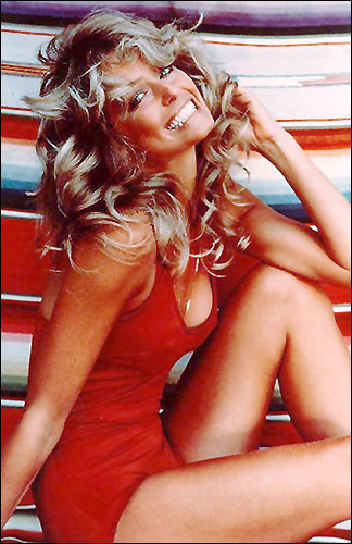 Постер Фарра Фосетт фото в красном купальнике