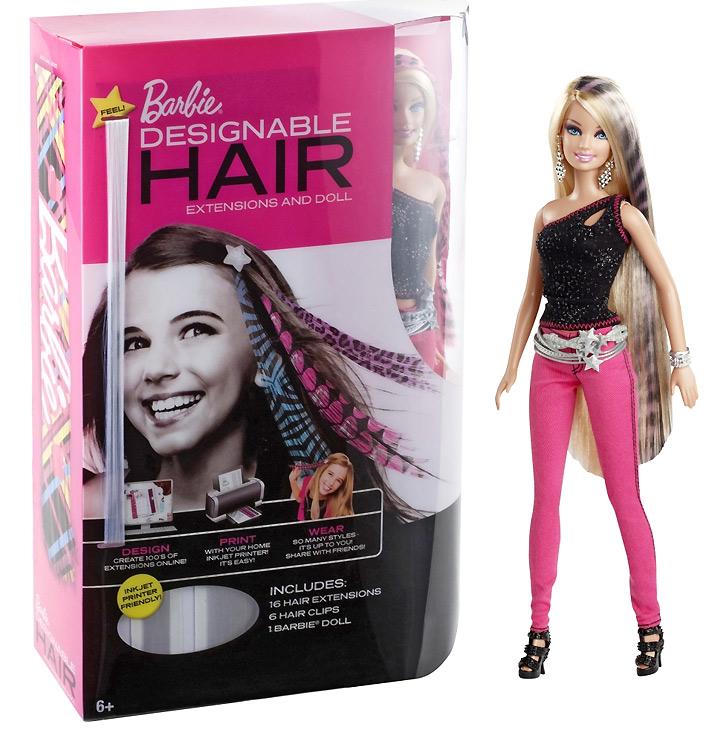 Барби с длинными волосами и распечатками