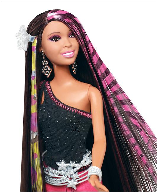 Кукла Барби с накладными волосами