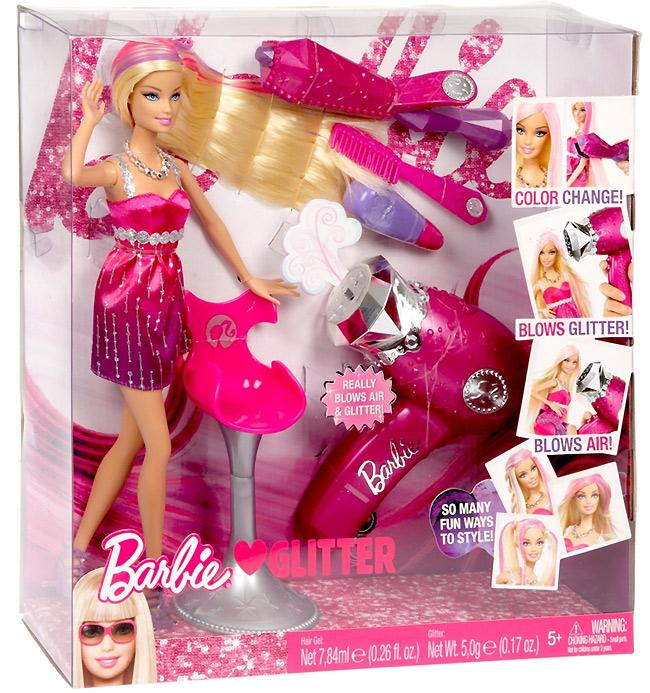 Фото куклы Барби любит блестки Barbie loves Glitter с феном
