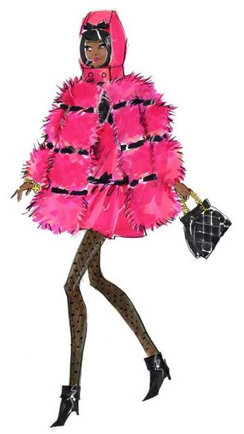 Модный рисунок куклы в розовом пальто