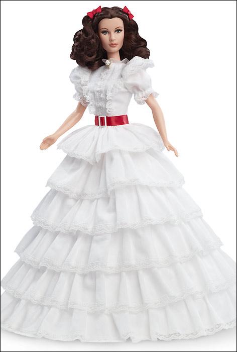 Новинка 2014 года - коллекционная кукла Барби Скарлетт О Хара в белом платье