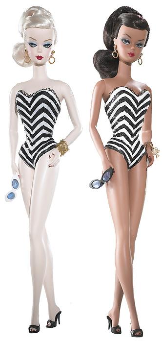 Коллекционные куклы Silkstone Barbie в полосатых купальниках - репро