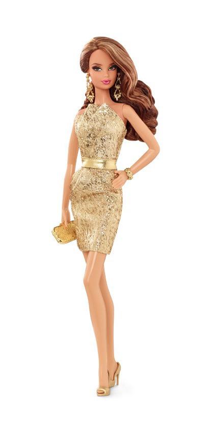 Коллекционная кукла Барби City Shine Gold Dress 2015