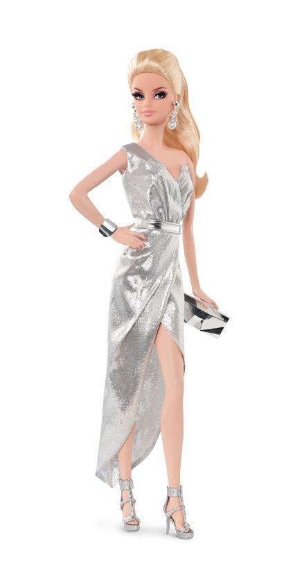 Коллекционная кукла Барби City Shine Silver Dress 2015