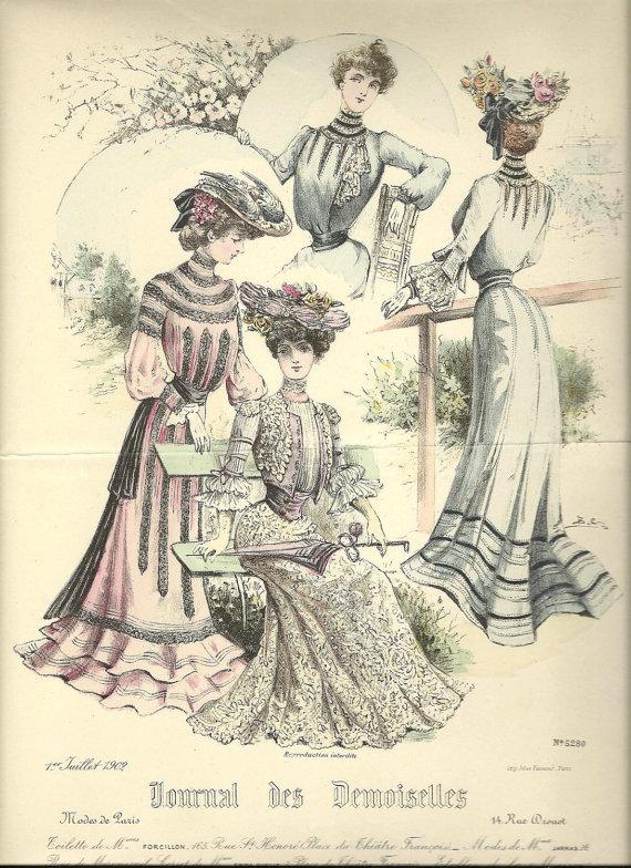 Женщины в костюмах XIX века